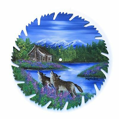 Hand Painted Saw Blade Art Mountain Log Cabin Spring Wolves 9 1/4 Inch