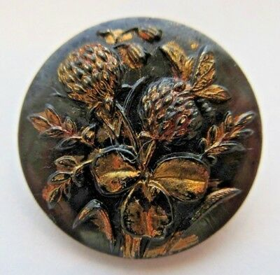 Gorgeous Antique Black GLASS Picture BUTTON Gold Luster Butterfly & Flowers (M)