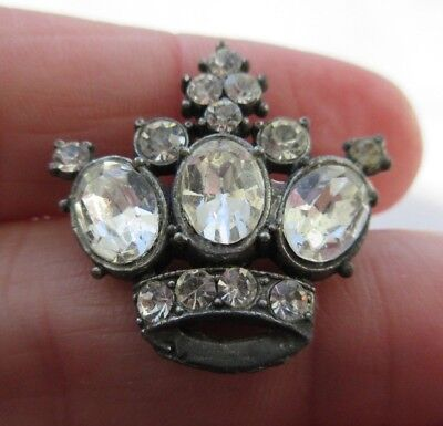 Exceptional Antique~ Vtg Metal Jewel BUTTON Realistic CROWN w/ Glass Pastes (M)