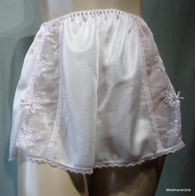 BHS VINTAGE SILKY SHEER PALE PINK NYLON FRENCH KNICKERS PANTIES Med