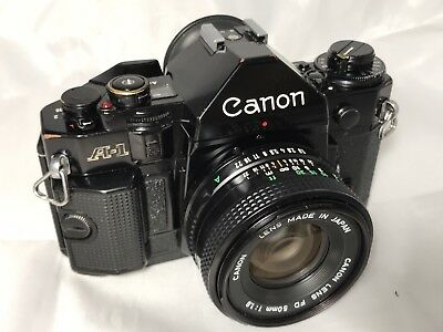Canon A-1 35mm SLR Film Camera with 50mm lens - New Seals & Battery - Excellent