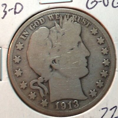 1913-D  G-VG    Barber Half Dollar   Y and part of LT