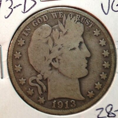 1913-D  VG   Barber Half Dollar   LY and part of IT   #1