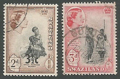 Swaziland Scott#s 57-58, Married Woman; Courting Couple, Used, 1956