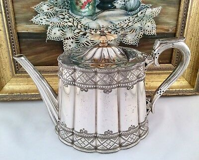 Fine Quality WALKER & HALL Antique Victorian Chased Silver Plated Tea Pot C1880