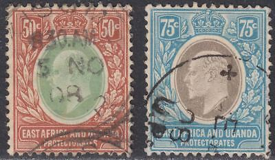 East Africa and Uganda 1907-08 King Edward VII 50c, 75c Used SG41-42 cat £60