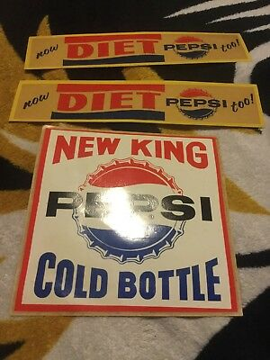 VINTAGE Rare King Size Pepsi With Diet Pepsi UNUSED Decal Sticker Lot Of 3 NOS