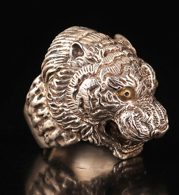 Man Old Superb Tibetan Silver Ring Tiger Handicraft Men Venomous Vintage