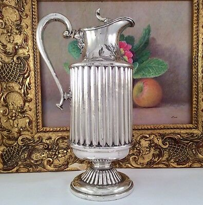 Rare Antique Victorian Queen Anne Style Chased Silver Plated Claret Jug C1860