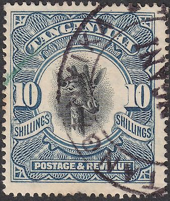 Tanganyika 1923 KGV Giraffe 10sh Deep Blue Fiscally Used SG87a cat £250 as post