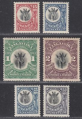 Tanganyika 1922-25 King George V Giraffes Selection to 2sh Mint cat £45