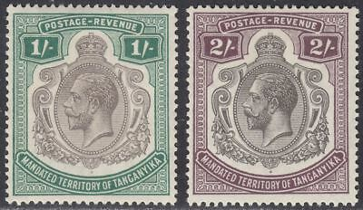Tanganyika 1927 KGV 1sh Green, 2sh Deep Purple Mint SG102-103 cat £34