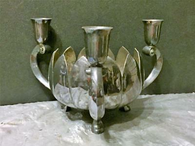 Reed & Barton Lotus Flower Bowl With 3 Candle Holders