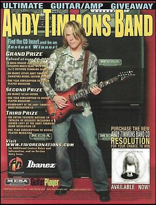 Andy Timmons Band Ibanez SA160 Mesa Boogie guitar amp contest giveaway 8 x 11 ad