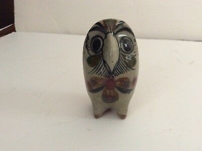 "Vintage Signed Jorge Wilmot Mexican Pottery Miniature Owl 3-1/4""  High"
