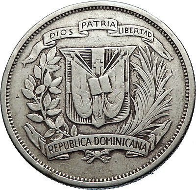 1951 DOMINICAN REPUBLIC Silver Liberty LIBERTO Arms Antique Silver Coin i71870
