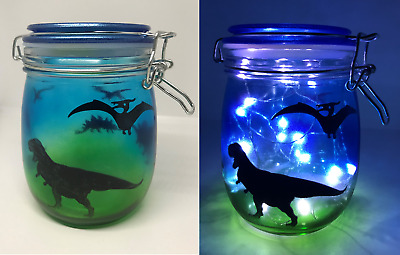 Hand-Made Stained Glass Night Light LED Illuminated Jar - Various Themed Scenes