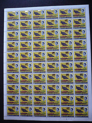 Stamps - Pitcairn Islands - Full Sheet - Surcharged in Gold - Scott# 80