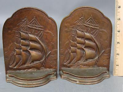 Antique Early 20thC Sargent Nautical Clipper Ship Bronze Bookends ... No Reserve