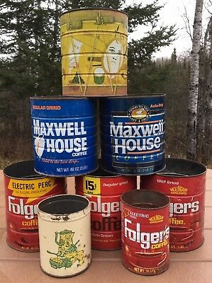Coffee Tin Can Lot Of 8 Folgers Maxwell House Humpty Dumpty Vintage