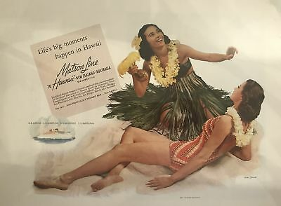 Vintage Magazine  Ad For Matson Cruise Line To Hawaii