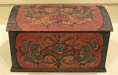 Small Vintage Pennsylvania Dutch Style Painted Domed Chest, Sewing Box?