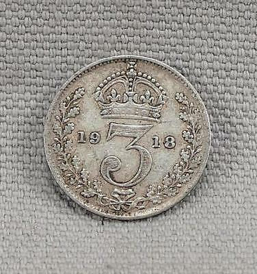 Great Britain 1918 Three 3 Pence Silver Coin! No Reserve!