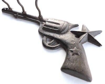 Pistol Hook Cast Iron Wall Mount w Star Rustic Old Fashioned New Vintage 9x4inch