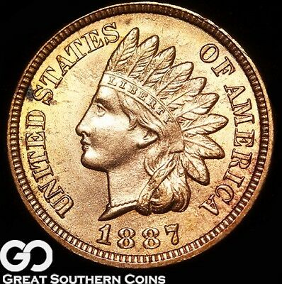 1887 Indian Head Penny, Sharp and Lustrous, Red-Brown