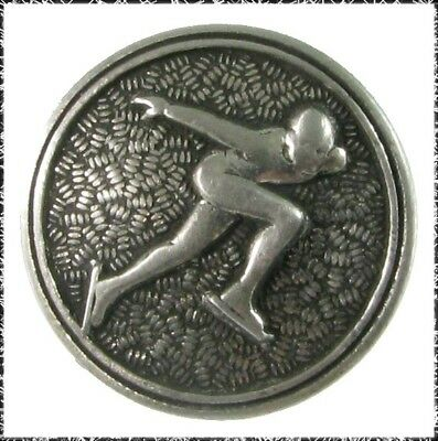Vintage Norwegian Pewter Speed Skater Button