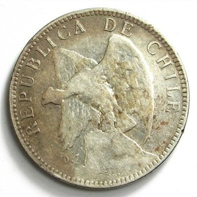 1902 Chile 1 Peso - Fine Detail - KM#152.2 Large Silver Coin, Low Mintage