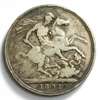 1891 Great Britain Crown of Victoria - KM#765 Sterling Silver