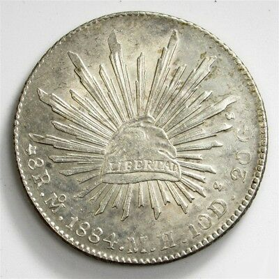 1884-Mo MH Mexico 8 Reales - AU - KM#377.10 Large Silver Coin