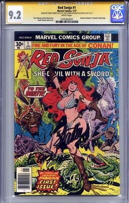 RED SONJA #1 CGC 9.2 SS STAN LEE, FRANK THORNE & ROY THOMAS (white pages)