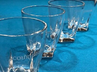 Set of 4 Courvoisier Cognac Weighted Rocks Glasses ~  White Logo