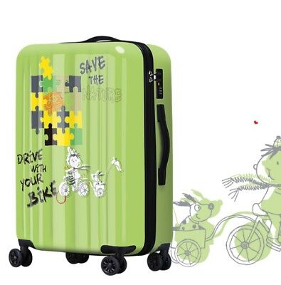 A473 Lock Universal Wheel Green Pattern Travel Suitcase Luggage 20 Inches W