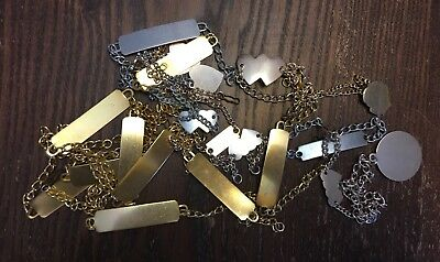 Vintage Japan Mixed Gold Silver Plate Lightweight Metal Id & Charm Bracelet Lot