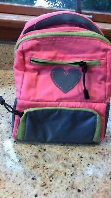 Pottery Barn Kids *NEW* pink/gray Colton lunch bag with silver heart