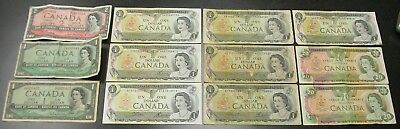 Lot Of Obsolete Canada Currency 1954 $1 1954 Two Dollars 1970's Dollar $20