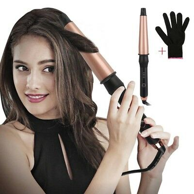 Conical Ceramic Hair Curling Wand Professional Salon Curlers Tools With Glove
