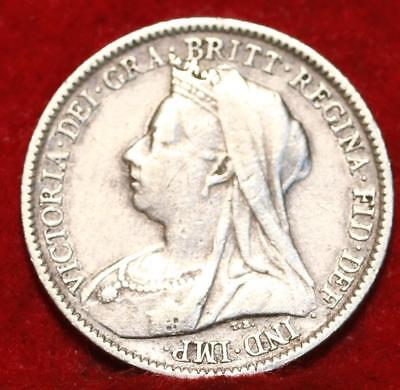 1900 Great Britain 6 Pence Silver Foreign Coin