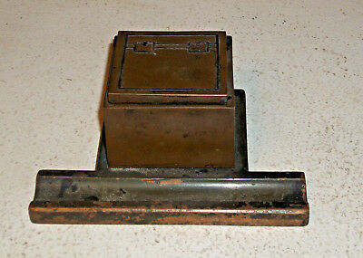 Arts and Crafts Mission Copper Bronze with Sterling Inlaid Inkwell Heintz ?