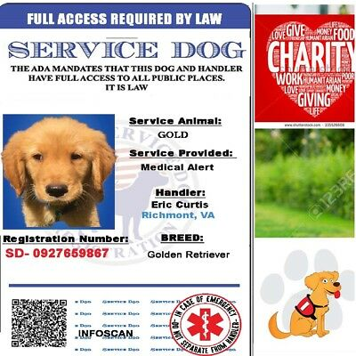 Service Dog Card ID Assistance Animal Badge ADA ESA Holographic Charity