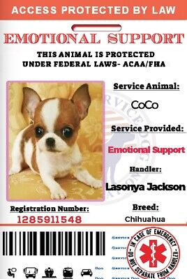 EmotionalSupport Dog Card ID Assistance Animal Badge ESA ADA