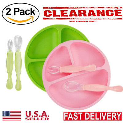 2 Divided Toddler Baby Table Plates with 4Pcs Silicone Spoon BPA Free Silicone