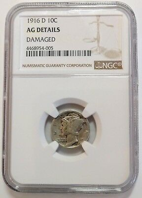 1916-D Mercury Dime - NGC Certified - AG Details (Damaged) - Key Date