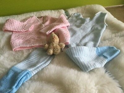 AUTHENTIC VINTAGE 70s UNUSED BABY BOYS/GIRLS DUNGAREES / CARDIGAN