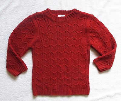Girls Toddler Baby Gap red cabled wool acrylic blend sweater size 4 years 4T