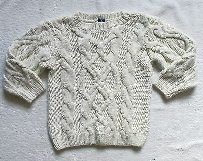 Girls Toddler Baby Gap white cabled cotton acrylic blend sweater size 4 years 4T