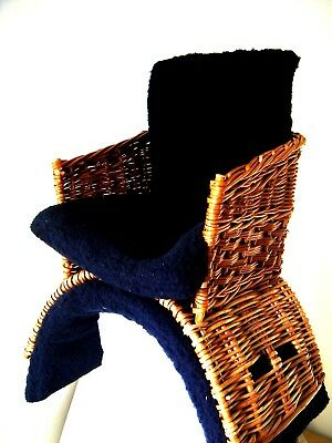 Vintage Wicker Basket Saddle Padded Blue Seat Numnah No Straps In Vgc This One